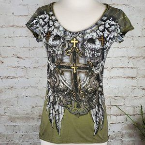 Archaic Green Cross/Wings Graphic Tee S  EUC